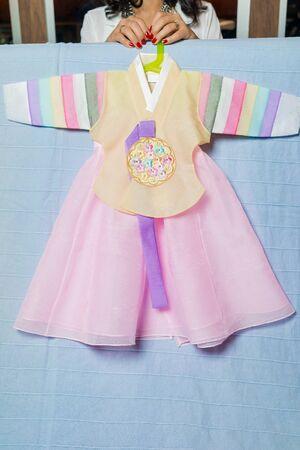 hanbok: Korean hanbok for a baby first birthday dol. Korean traditional costume