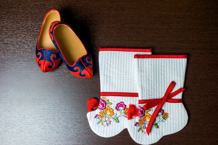 hanbok: Korean hanbok for a baby first birthday . Korean traditional shoes