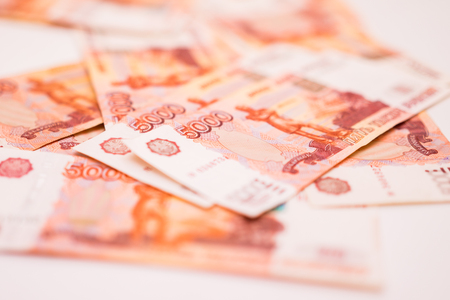 Banknotes of 5000 Russian rubles background Stock Photo