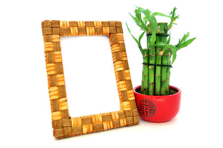 Wooden frame with bamboo for menu, picture