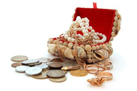 Pirates treasure chest with jewelry Stock Photo