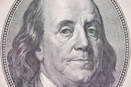 Benjamin Franklin, close-up of a hundred dollar bill, texture. Business and finance. 100 US dollars banknotes Reklamní fotografie