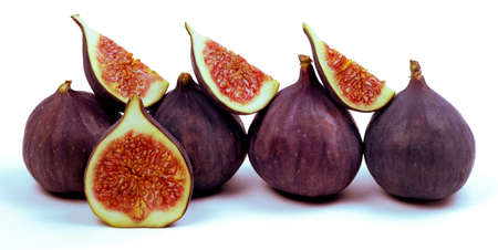 Fig isolated on white backraund. Fresh whole and sliced fig. Clipping path
