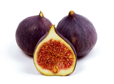 Fig isolated on white backraund. Fresh whole and sliced fig.