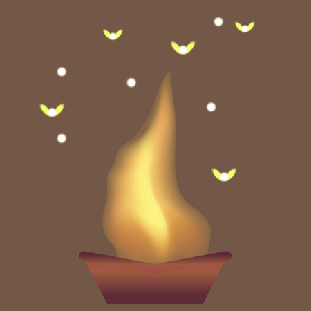 Flames and moths on the brown background  Ilustrace