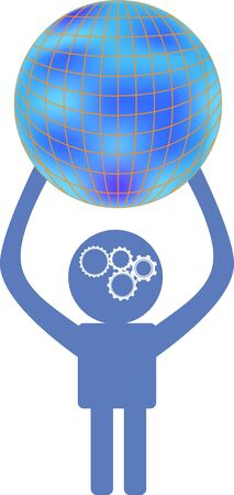 terrestrial: Thinking man is  holding terrestrial globe, concept icon  for design Illustration