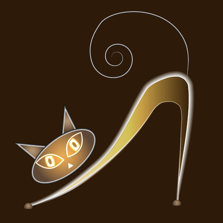 indulgence: Glowing cat on a dark background  vector Illustration