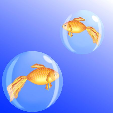 Two golden fish in bubbles on a blue background Illustration