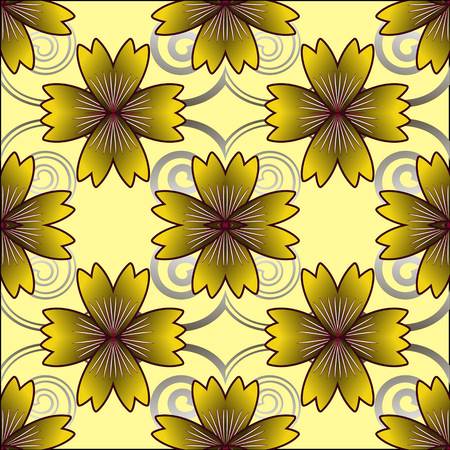 carnations: Pattern of yellow carnations seamless vector illustration