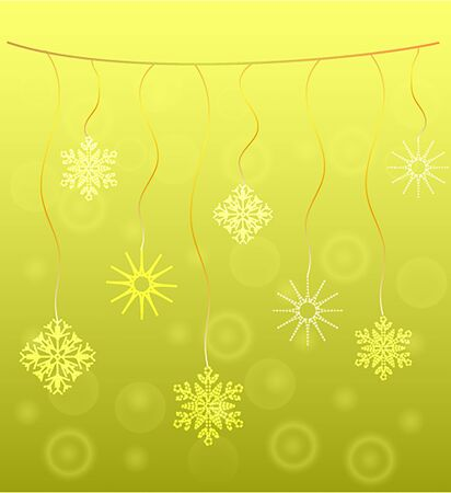 hung: Snowflakes hung on a gold background vector Stock Photo