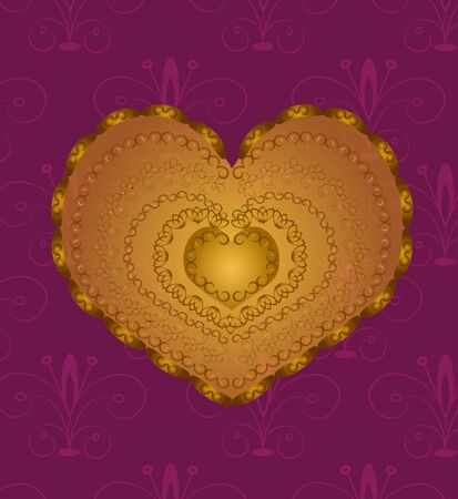 maroon background: Golden Heart with ornament  on maroon background Illustration