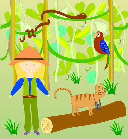 between: Alice and Timothy the cat in the jungle, series of childrens illustrations