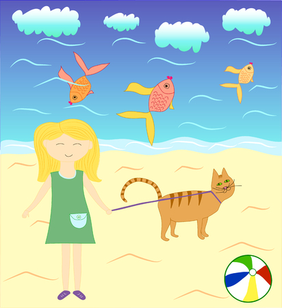 inseparable: Alice and Timothy the cat near the sea, series of childrens illustrations Illustration