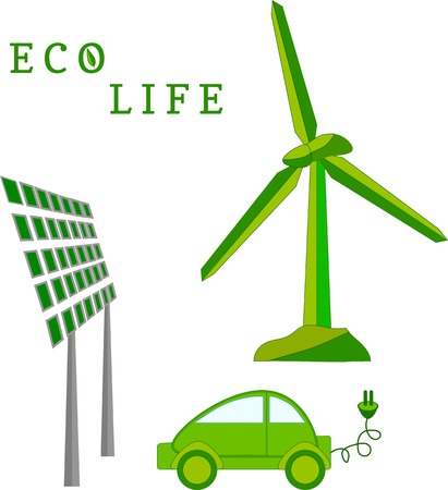 solar power station: Windmill, solar battery, electric car - eco life vector