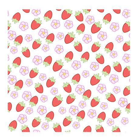 wild strawberry: Pattern with wild strawberry seamless illustration