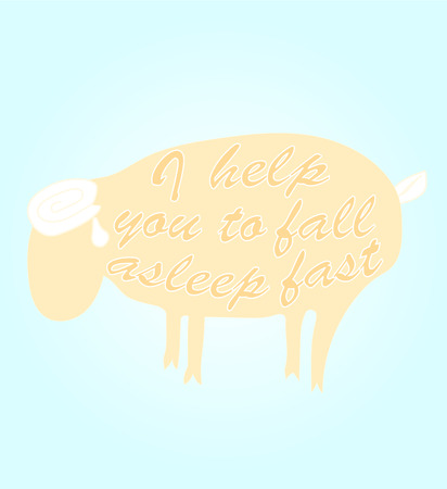 pastures: Sheep with the words I help you to fall asleep fast Illustration