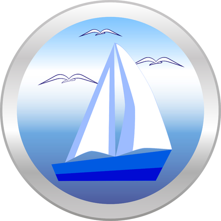 gulls: Sailboat and gulls in the circle. Vector icon Illustration