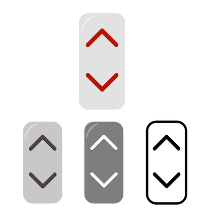 remote controls: Vertical buttons with arrows  up and down. Illustration