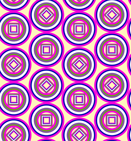 circles: Geometric pattern with pink circles. vector seamless