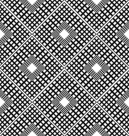 inclusion: Checkered black and white pattern with rhombuses. vector seamless