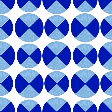 quadrant: Two-color pattern of blue circles with stains. vector seamless Illustration