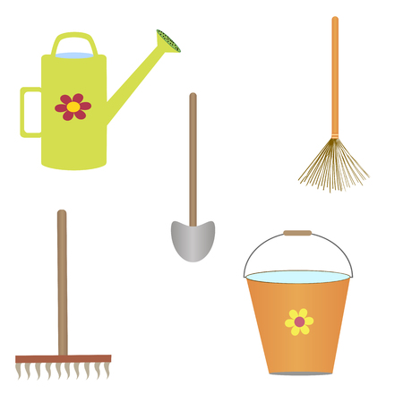 wateringcan: Set of gardening tools on the white background