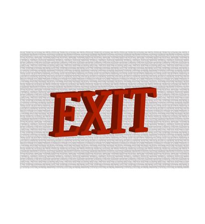 Rojo palabra EXIT en fondo gris.
