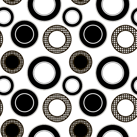 decoration design: Black and white seamless pattern with circles