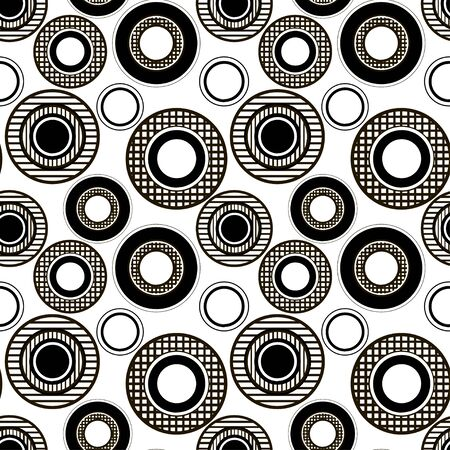 decoration design: Monochrome seamless pattern of the checkered and striped circles Illustration