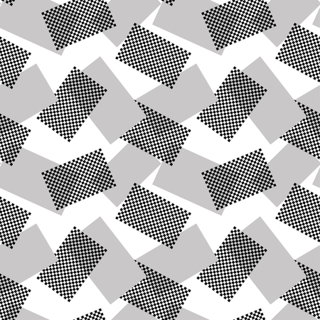 disorderly: The pattern of gray and halftone rectangles. Vector seamless