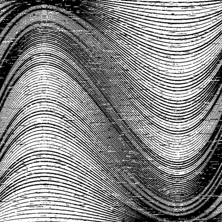 undulating: Abstract grunge background with wavy lines. Monochrome vector background Illustration