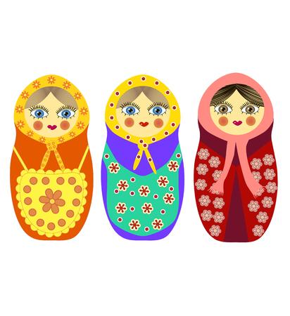 ethnicity: Three Russian nesting dolls. Three different matryoshka dolls Illustration