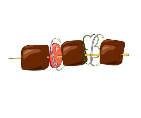 shish kebab: Shish kebab on a wooden stick with vegetables. illustration Illustration