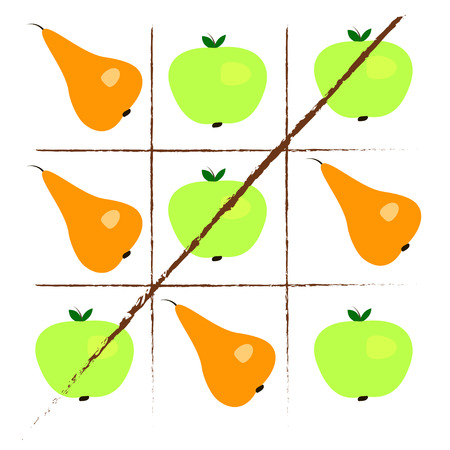 pears: Tick-tack-toe with apples and pears. illustration Illustration