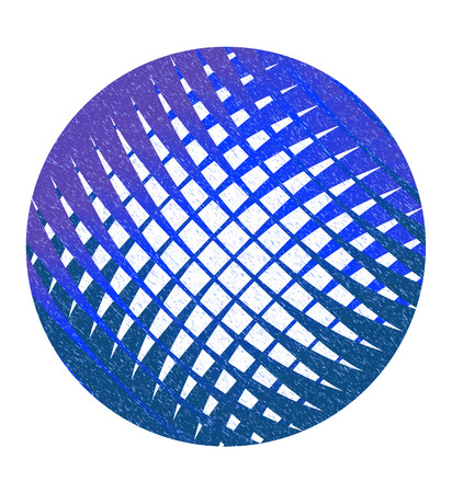 speckle: Speckled blue abstract circle with lattice. design element Illustration