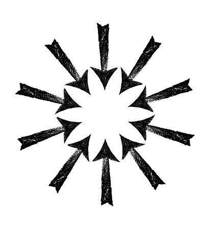 Circle of black grungy arrows. Vector illustration