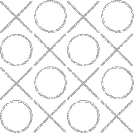 crosses: The pattern of gray grunge circles and crosses. Geometric vector seamless pattern.