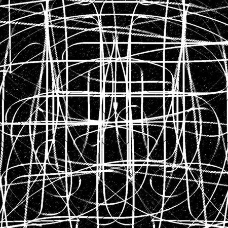 mottled background: White intersecting sinuous lines on black mottled background. Vector illustration