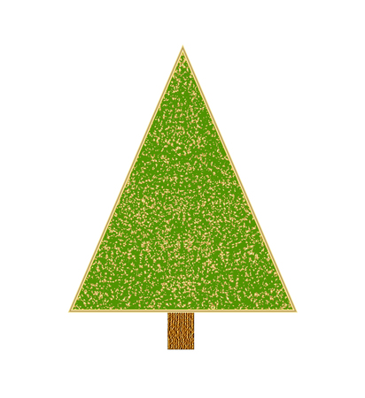 Christmas tree with tinsel. Vector illustration