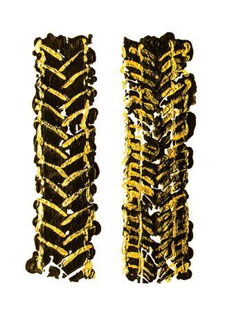 Black gold tire tracks Stock Photo