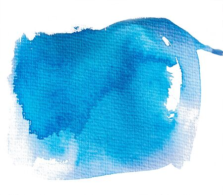 poured: Blue painted abstract spot Stock Photo