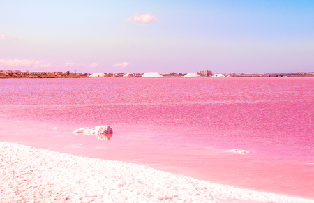 ピンクの塩の湖。スペイン、ベニドームの幻想的な風景