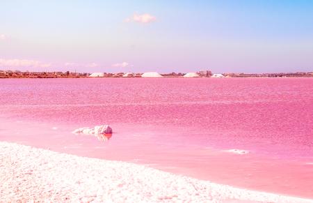 Pink Salt lake. Spain, Torrevieja Fantastic landscape Stock Photo