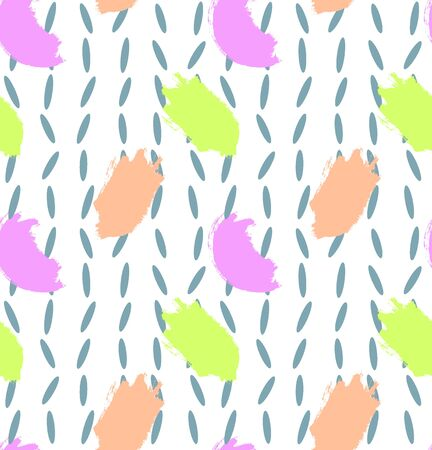 Pattern with colorful brush strokes. Vector seamless pattern