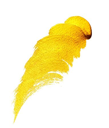 Yellow golden acrylic brushstrokes. Daub of yellow paint. Element for different design Stock Photo