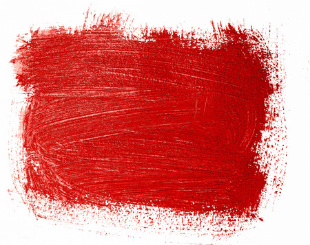 Red painted banner. Bright textured acrylic background