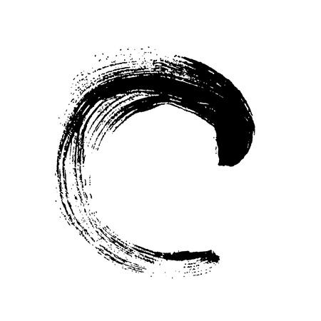 Black grunge round brushstroke. Vector design element