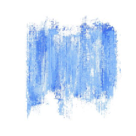 Blue halftone grunge stain. Overlaying vector design element