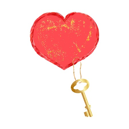 Red heart with a Golden key. Vector design element for Valentine Day and other design Illustration
