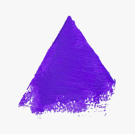 Purple grunge acrylic triangle isolated on white background. Design element